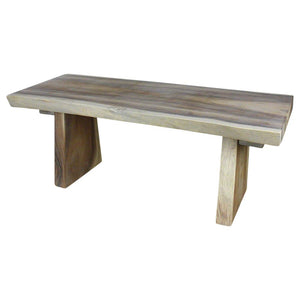 HAUSSMANN Natural Edge Wood Bench 48 x 17 to 20 x 18 inch H Ships KD in Agate Grey Oil Fin
