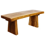 HAUSSMANN Natural Edge Bench Sust Wd 48 x 17-20 x 18 inch Ht KD w Livos E Frdly Walnut Oil