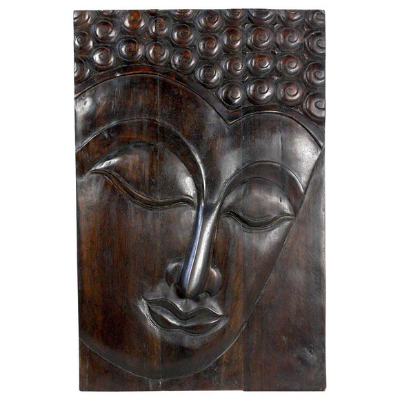 Haussmann® Wood Buddha Panel Serene 24 in x 36 H Mocha Oil - Haussmann Inc