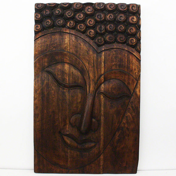 HAUSSMANN Buddha Panel Serene Sust Wood 30 x 47 inch H w Eco Friendly Livos Mocha Oil Fin