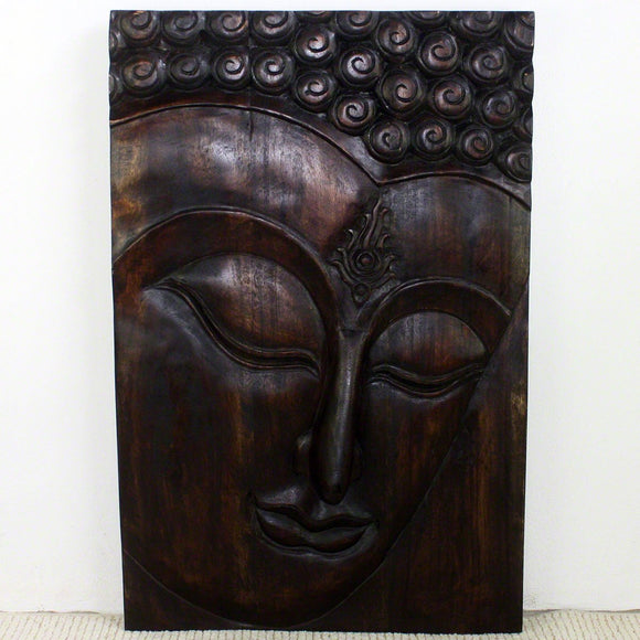 Haussmann® Wood Buddha Panel Ushnisha 24 in x 36 H Mocha Oil - Haussmann Inc