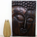 Haussmann® Wood Buddha Panel Ushnisha design 24 in W x 36 in High Mocha Oil