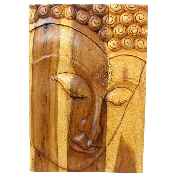HAUSSMANN Buddha Panel Ushnisha Sust Wood 24 x 36 inch Ht w Livos Eco Friendly Oak Oil Fin