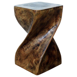 Haussmann® Big Twist Stool 12 in SQ x 20 in H Acacia Wood Mocha Oil Finish