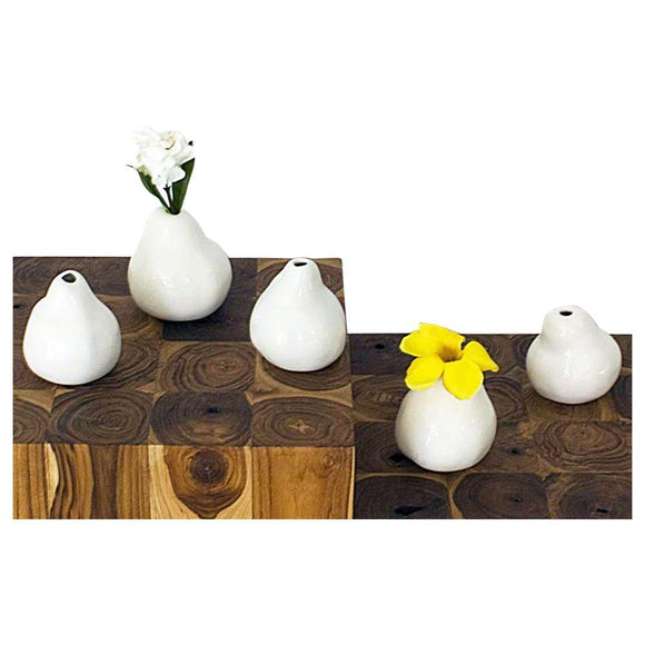 Haussmann® 5 Piece Sets Decorative Ceramic Real Pear Mold Table Decor in Porcelain White Glossy F