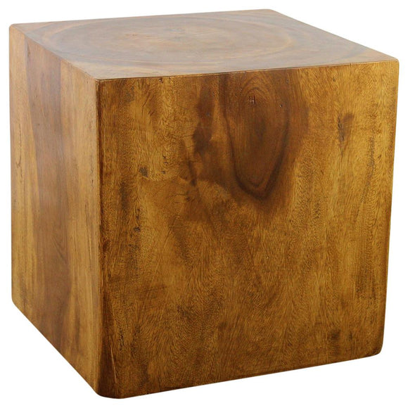 Haussmann® Wood Cube Table 18 in SQ x 18 in High Hollow inside Oak Oil - Haussmann Inc