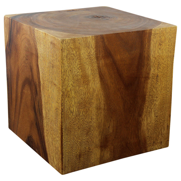 Haussmann® Wood Cube Table 18 in SQ x 18 in High Hollow inside Walnut Oil