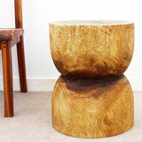 Haussmann® D Bell End Table Monkey Pod Wood 16 D x 20 inch H in Eco Walnut Oil Finish
