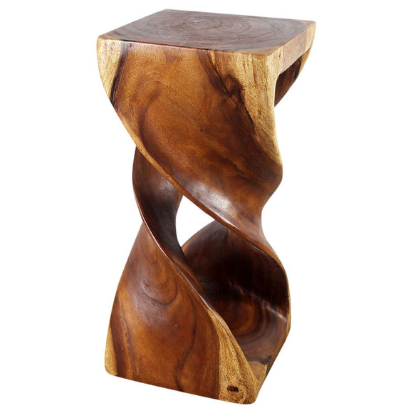 Haussmann® Wood Double Twist Stool Table 14 in SQ x 30 in H Walnut Oil