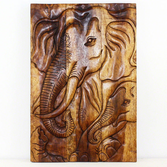 Haussmann® Elephant Gentle Giant Mother 20 x 30 in H Walnut Oil