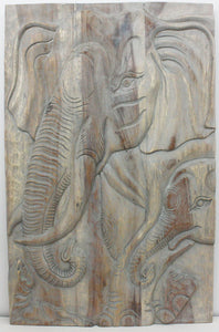 Haussmann® Elephant Gentle Giant Mother 24 x 36 in H Agate Grey Oil - Haussmann Inc