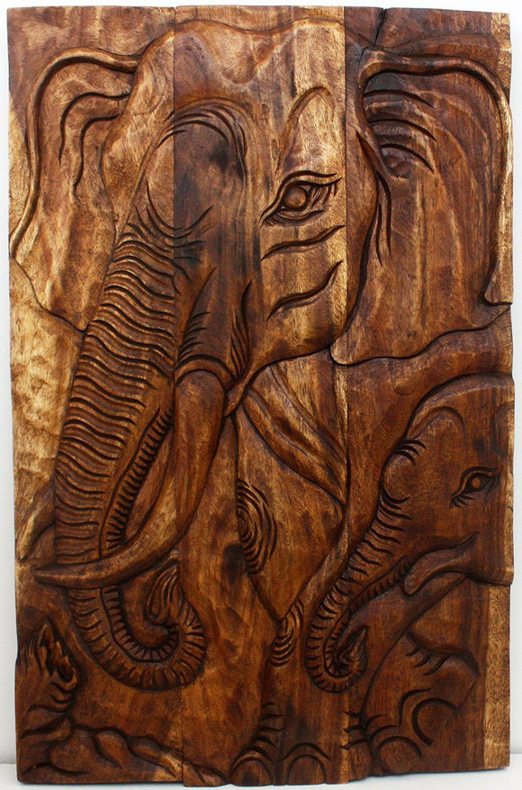Haussmann® Elephant Gentle Giant Mother 24 x 36 in H Walnut Oil