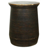 Haussmann® Groovey Round Stool Or Table Pot 15 In Dia X 20 In High Mocha Oil