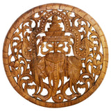 Haussmann® Teak Wood Lotus Panel 3 Elephant Round 60 cm Clear Oil