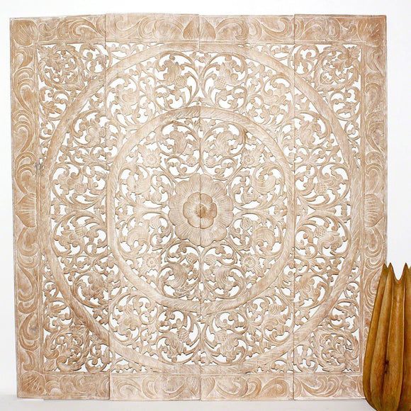 Haussmann® Teak Lotus Panel 48 in x 48 in H-1 Sand Washed - Haussmann Inc