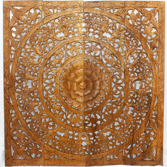 Haussmann® Teak Lotus Wall Panel 48 x 48 inch High 3D Brown Stain