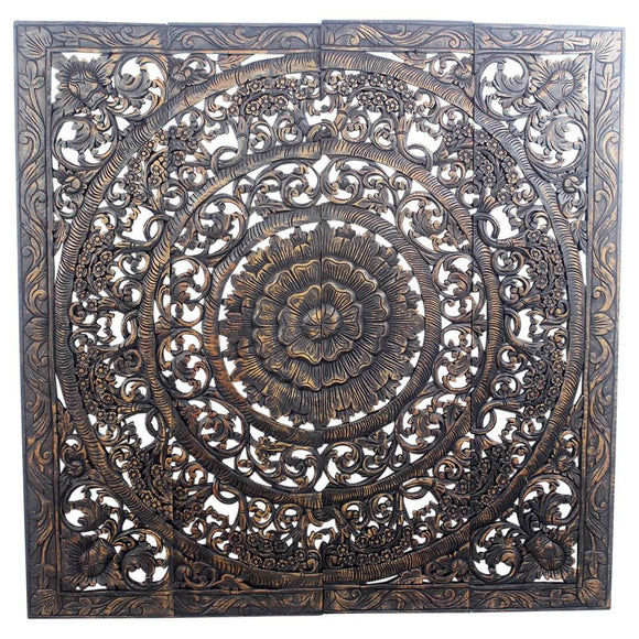 Haussmann® Teak Lotus Panel 48 x 48 inches H-3D  Black Stain Wax
