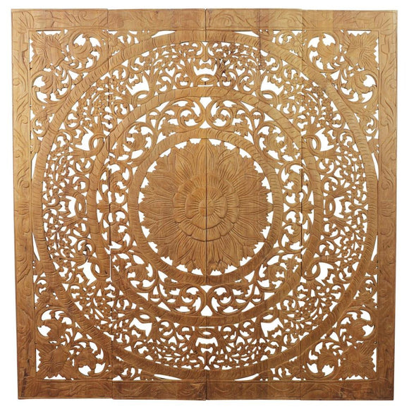 Haussmann® Teak Lotus Panel 48 x 48 inches H-3D  Natural Wax