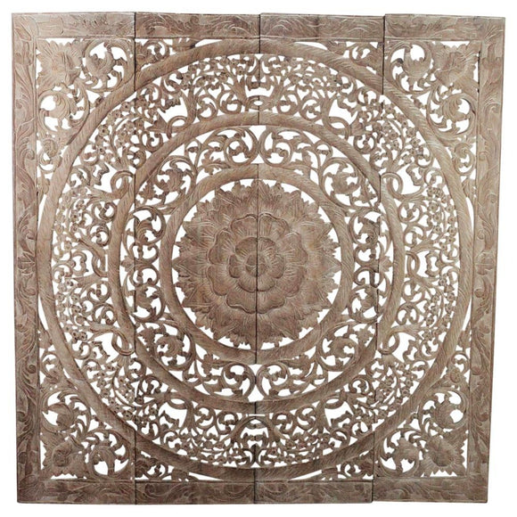 Haussmann® Teak Lotus Panel 48 x 48 inches H-3D  Sand Washed - Haussmann Inc