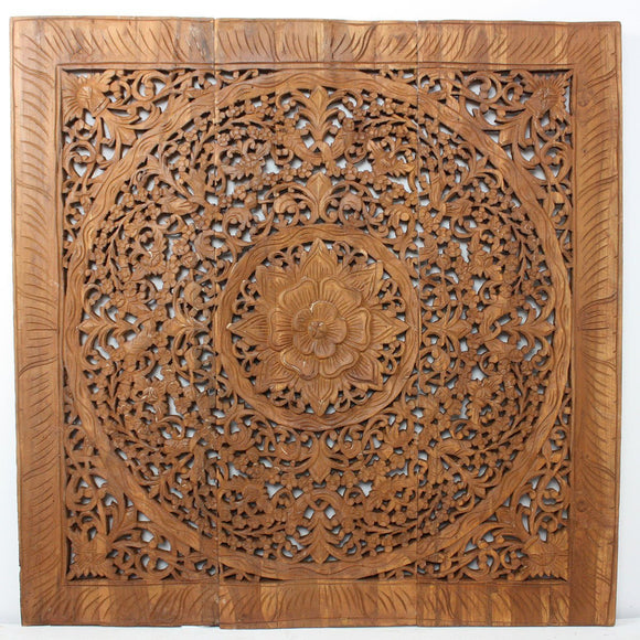 Haussmann® Teak Lotus Panel Inlay 36 in x 36 in Brown Stain Wax