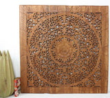 Haussmann® Teak Lotus Panel Inlay 36 in x 36 in Brown Stain Wax - Haussmann Inc