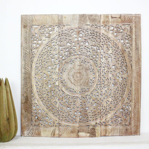 Haussmann® Teak Lotus Panel Inlay 36 in x 36 in Sand Washed
