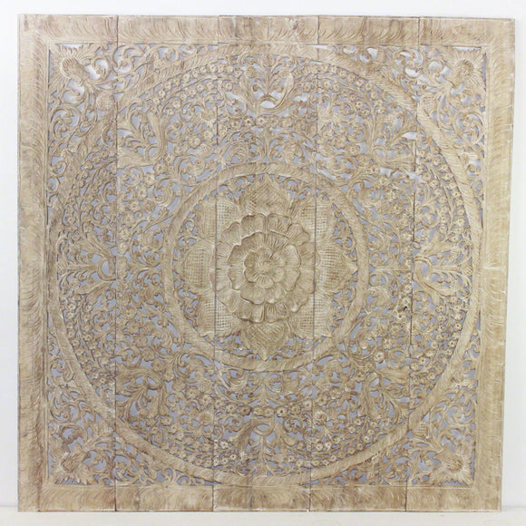 Haussmann® Lotus Wall Panel Inlay 60 x 60 inch Recycled Teak Sand Washed Wax