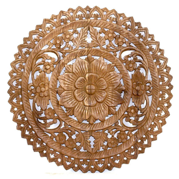 Haussmann® Teak Lotus Panel Inlay Round 60 cm H Brown Stain Wax