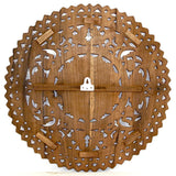 "Haussmann® Lotus Panel Wall, 24"" Round, Brown"