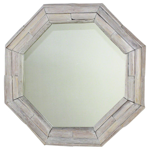 Haussmann® Mirror NE Teak Octagon Branch 34 in (26 x 26) Agate Grey