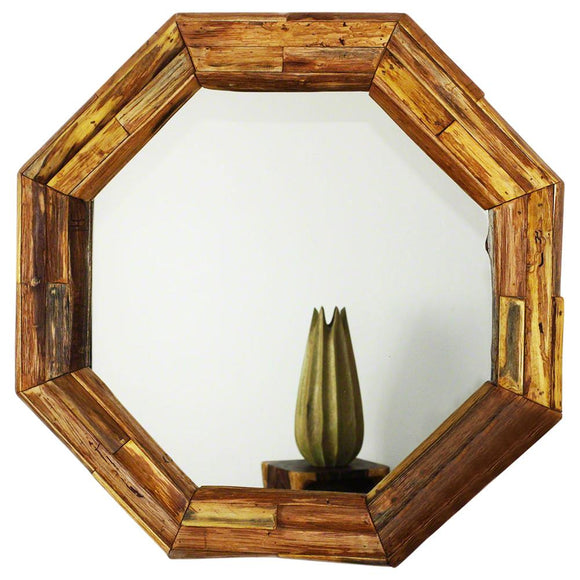 Haussmann® Mirror NAT Edge Farmed Teak Branch Oct 34 inch D in Eco Friendly Tung Oil Finish
