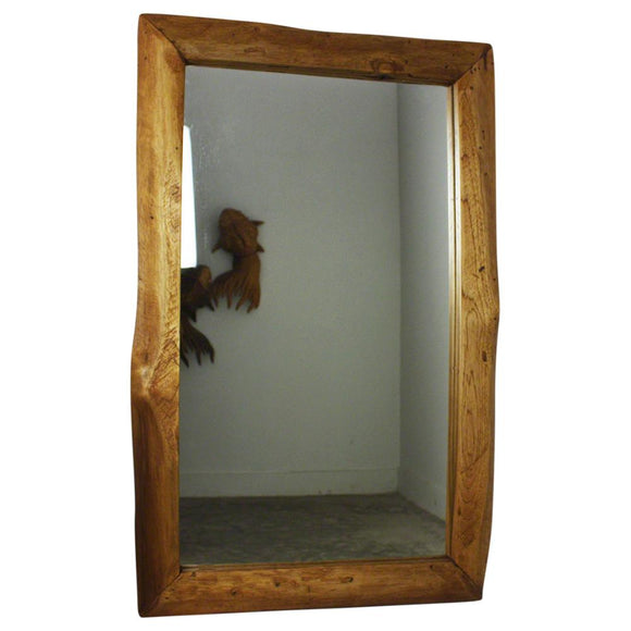 Haussmann® Mirror Natural Edge Farmed Teak Wood Rect 22x35 inch in Walnut Oil Finish