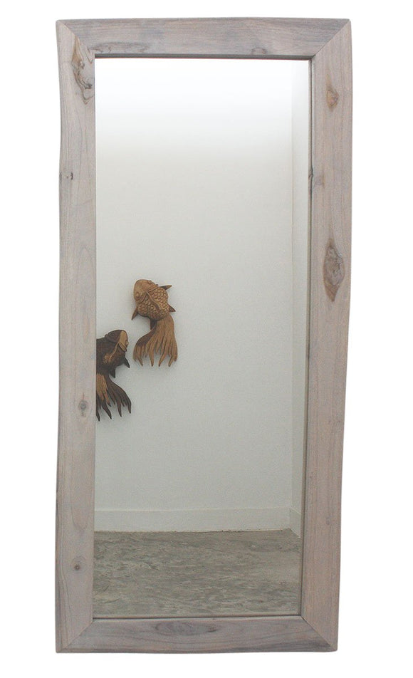Haussmann® Mirror NE recycled Teak Rectangle 22 in x 48 in H (16 x 41) Agate Grey