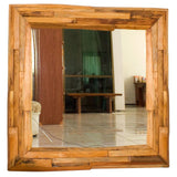Haussmann® Mirror with NE Teak Branches 30 in SQ (21 x 21 View) Tung Oil Finish