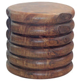 Haussmann® Mango Stacked Rings Table 20 D x 18 in High Antique Oak Oil - Haussmann Inc