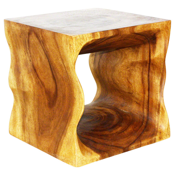 Haussmann Natural Cube 16 x 16 x 16 in High Eco Wood End Table Livos Oak Oil
