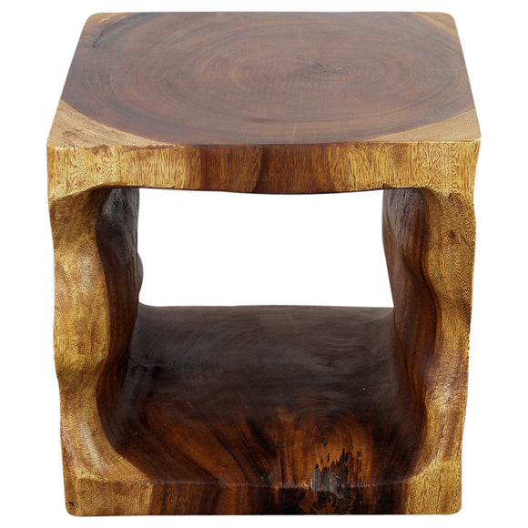 Haussmann® Wood Natural Cube End Sofa Table 16 in x 16 in H Walnut Oil