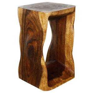 Haussmann Eco Wood Natural Stool End Table 12 In Sq X 20 In High Livo Walnut Oil
