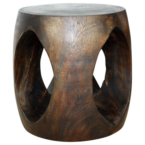 Haussmann Oval Windows Eco Wood End Table 20 In Dia X 20 In High Livos Mocha Oil