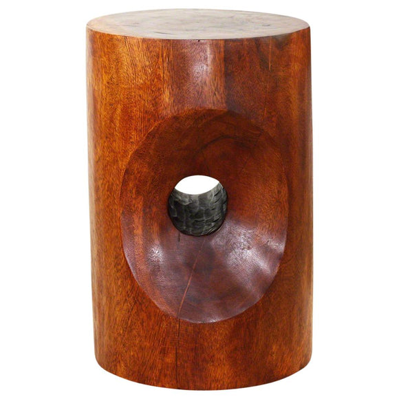 Haussmann Peephole Stool 13 in D x 20 in H Acacia Wood Cherry Intensive Oi