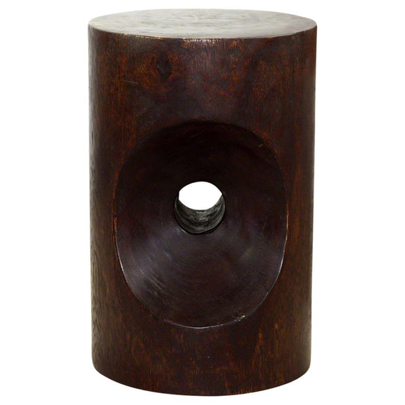Haussmann® Peephole Stool 13 in D x 20 in H Acacia Wood Dark Walnut Oil Finish