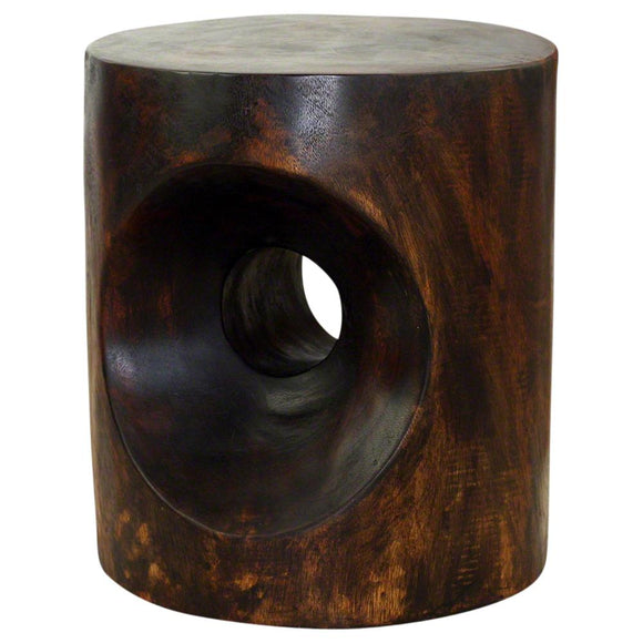 Haussmann Peephole End Table 16 in Diameter x 18 in High Livos Mocha Oil Finish