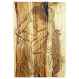 Haussmann Phuying Woman Monkey Pod Wood Wall Panel 20x30x2 inch in Livos Antique Oak Oil