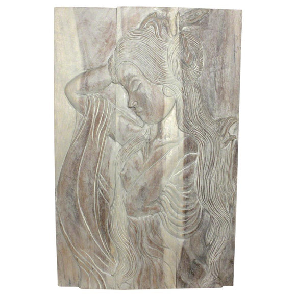 Haussmann Phuying Monkey Pod Wood Wall Panel 24Wx36Hx2 inch th in Eco Livos Agate Grey Oil