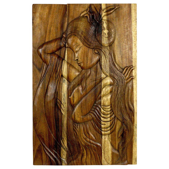 Haussmann Phuying Woman Monkey Pod Wood Wall Panel 24x36x2 inch in Livos Antique Oak Oil