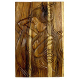 Haussmann® Phuying Woman Monkey Pod Wood Wall Panel 24x36x2 inch in Antique Oak Oil