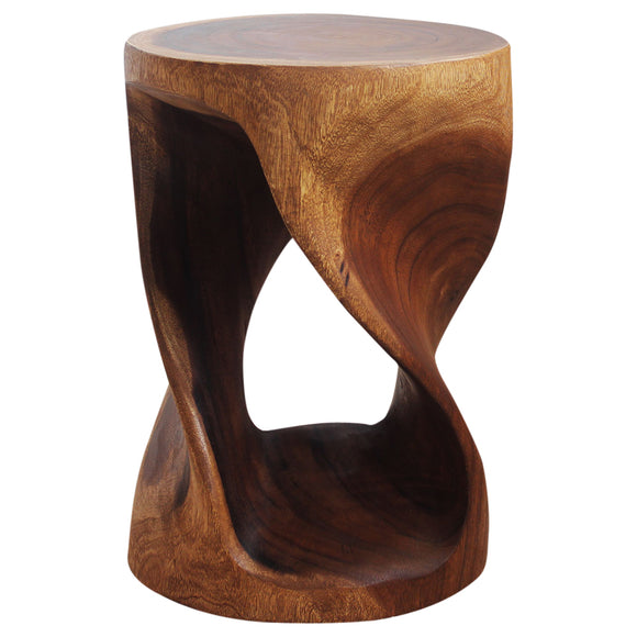 Haussmann® Round Wood Twist Accent Table 14 in DIA x 20 in High Walnut Oil - Haussmann Inc