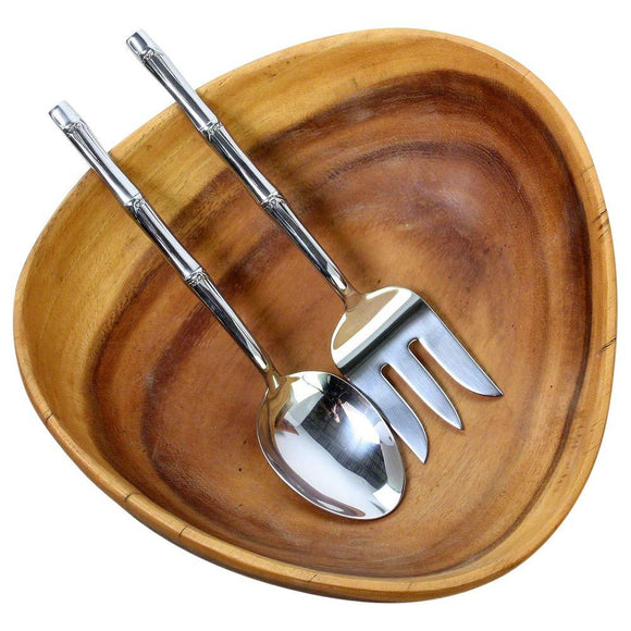 Haussmann® Stainless Steel Bamboo Flattened design 2 Piece Serving Set