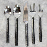 Haussmann® Hammered Triangle Stainless Steel Flatware 5 PC Setting w 4 Place Sets
