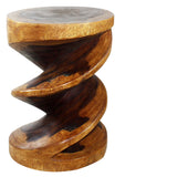 Haussmann® Wood Spiral Zig Zag End Table 15 D x 20 inch High Walnut Oil